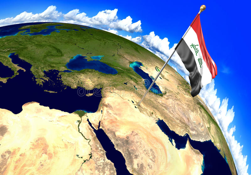 Iraq national flag marking the country location on world map 3d download iraq national flag marking the country location on world map 3d rendering stock illustration gumiabroncs Gallery