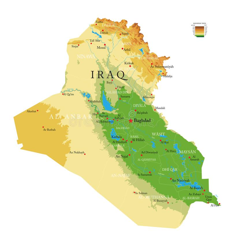 Iraq physical map stock photography