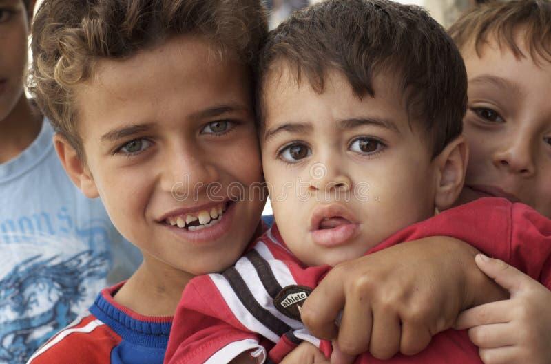 Iraq Refugee Boys. Portrait of Iraq refugee boys royalty free stock image