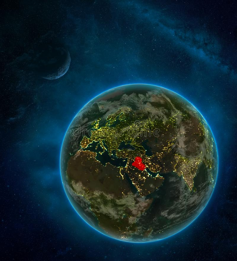 Iraq from space on Earth at night surrounded by space with Moon and Milky Way. Detailed planet with city lights and clouds. 3D. Illustration. Elements of this stock illustration