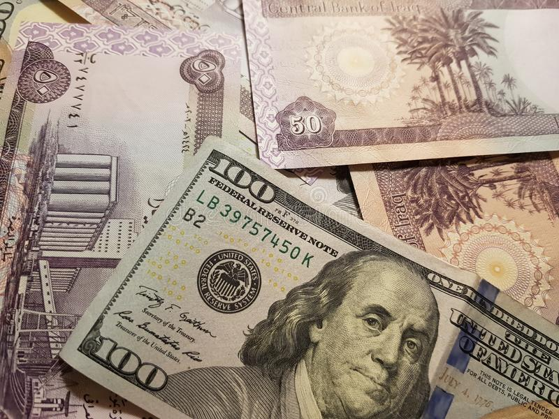 Iraq and the United States Join in the trade and economy, banknotes Use it as a Forex or Financial. Iraq and the United States Join in the trade and economy royalty free stock photos