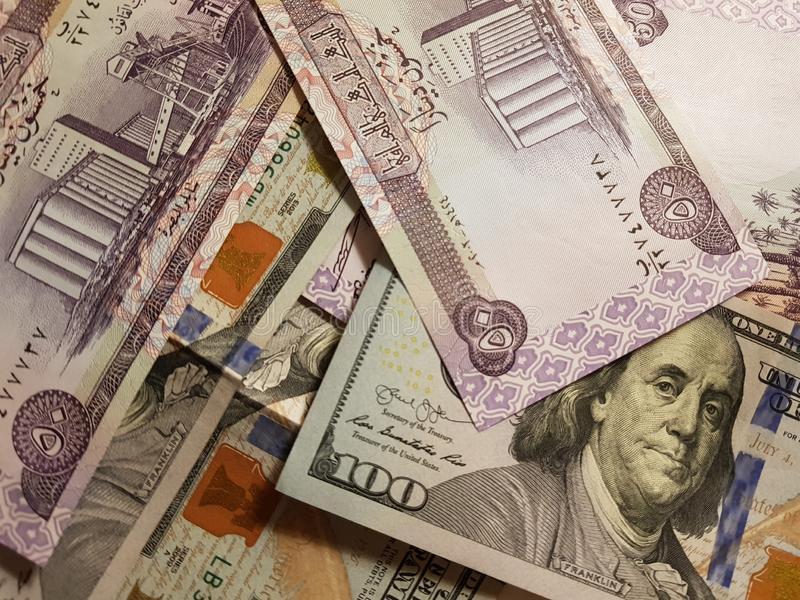 Iraq and the United States Join in the trade and economy, banknotes Use it as a Forex or Financial.  royalty free stock images