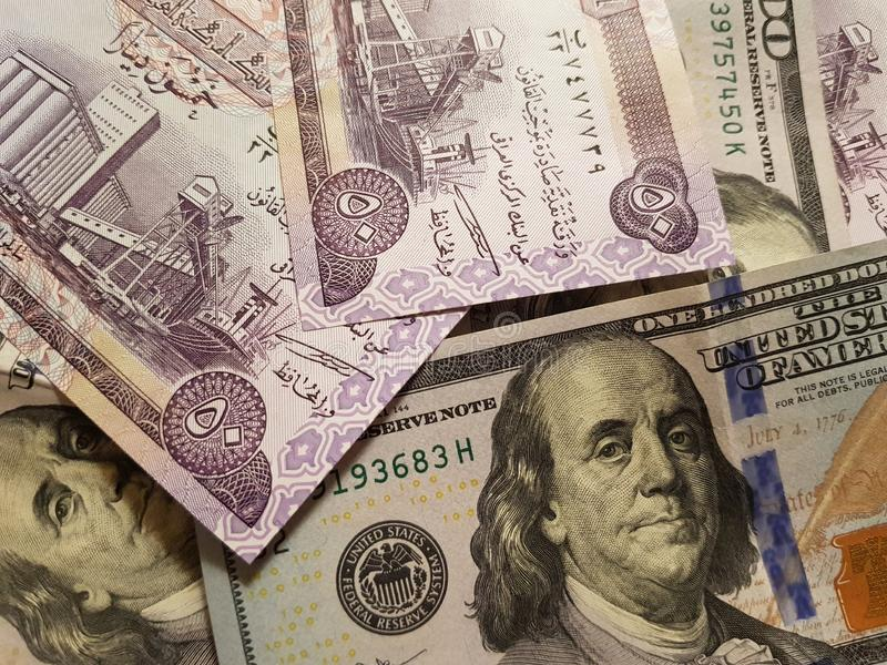 Iraq and the United States Join in the trade and economy, banknotes Use it as a Forex or Financial.  stock image