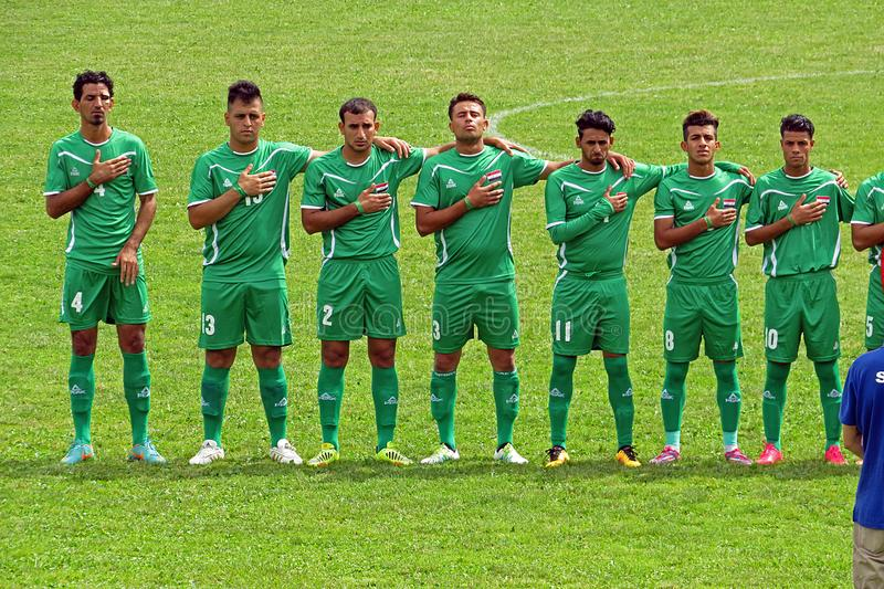Iraqi anthem. The iraq national team during the anthem in the deaf football world cup match italy vs iraq played at eboli in italy royalty free stock photography