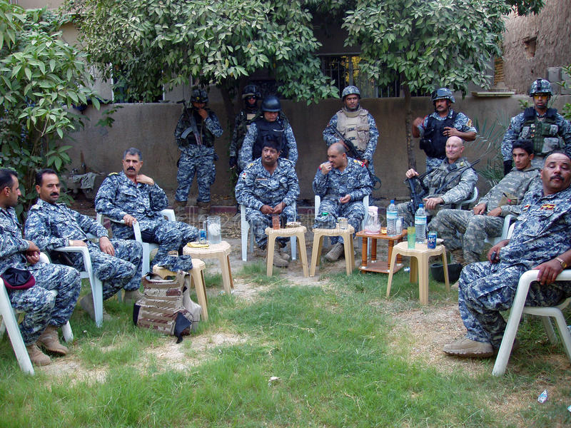 Iraqi National Police Planning stock images