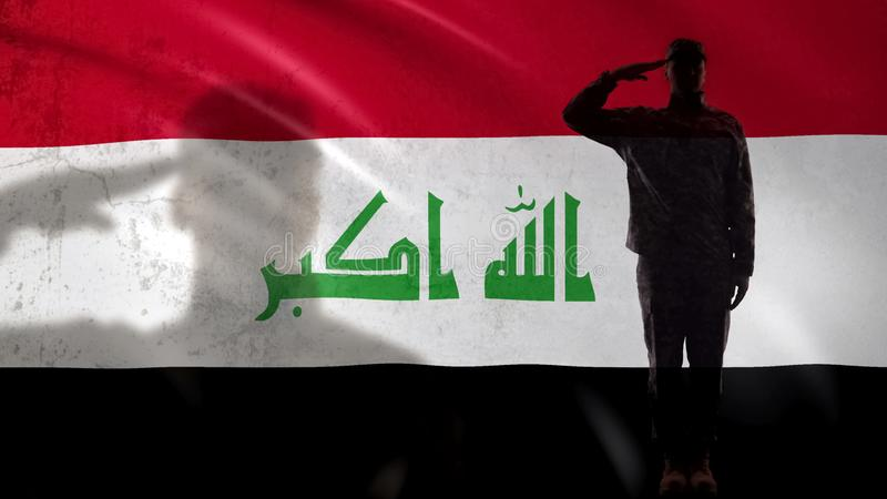 Iraqi soldier silhouette saluting against national flag, proud serviceman, army royalty free stock image