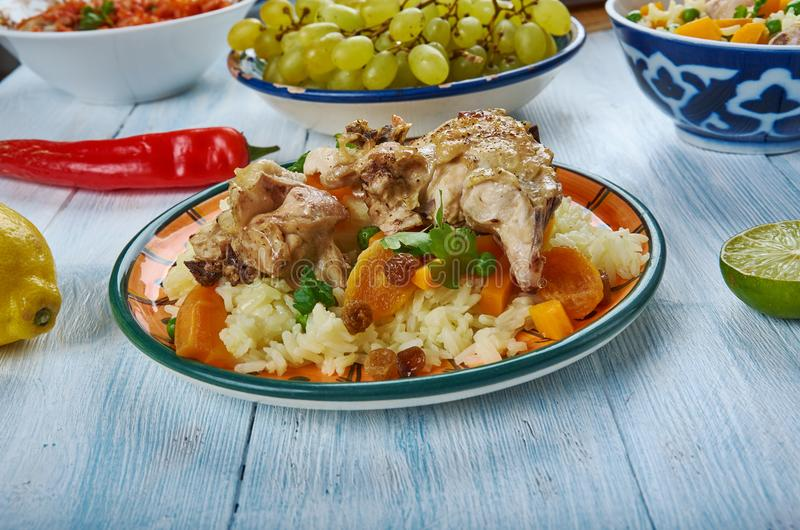 Iraqi Biryani Rice. IraqiBiryani Rice , Asia Traditional assorted dishes, Top view royalty free stock photography