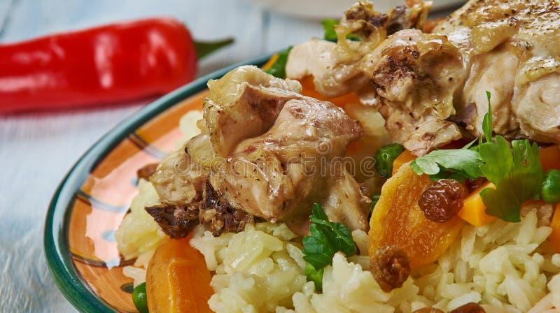 Iraqi Biryani Rice. IraqiBiryani Rice , Asia Traditional assorted dishes, Top view royalty free stock photos
