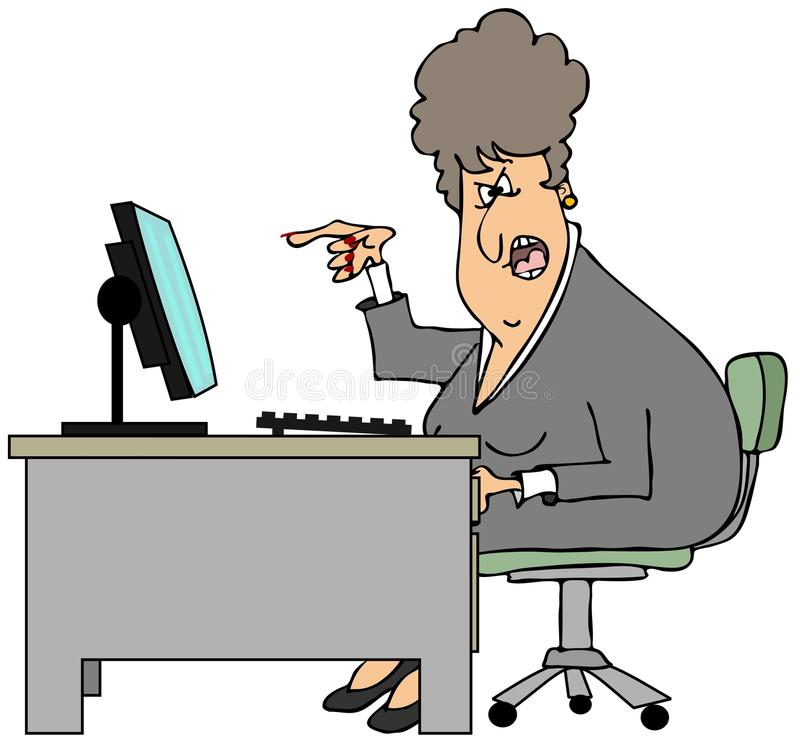 Irate woman sitting at a desk royalty free illustration