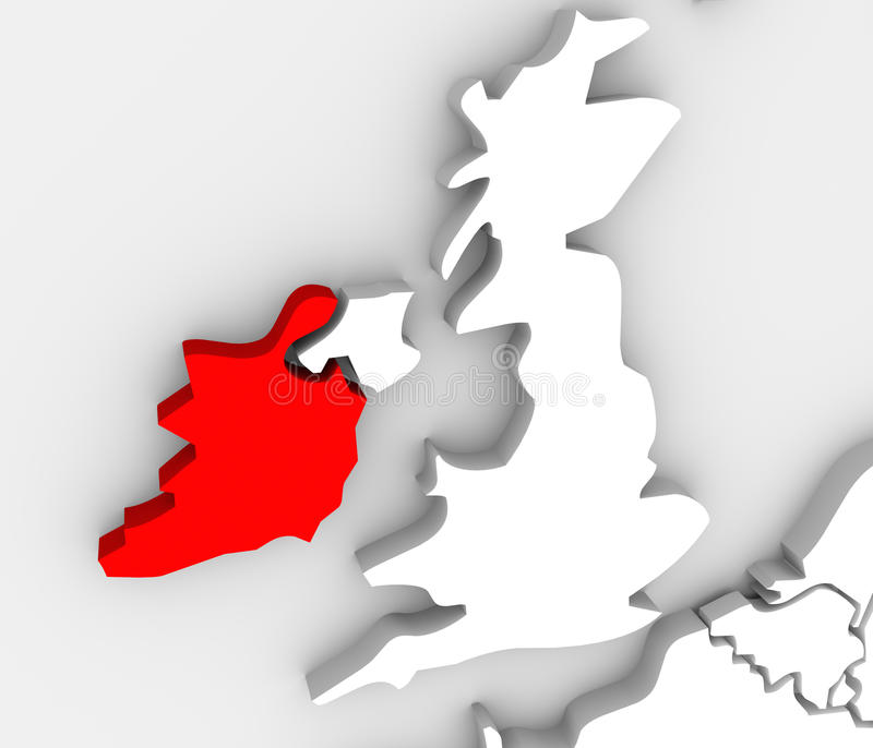 Ireland Abstract 3d Map United Kingdom European Countries royalty free illustration