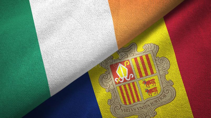Ireland and Andorra two flags textile cloth, fabric texture. Ireland and Andorra two folded flags together stock illustration