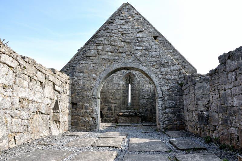 Ireland Aran island ruin church panorama1. Ireland Aran island ruin church indoor panorama stock photography