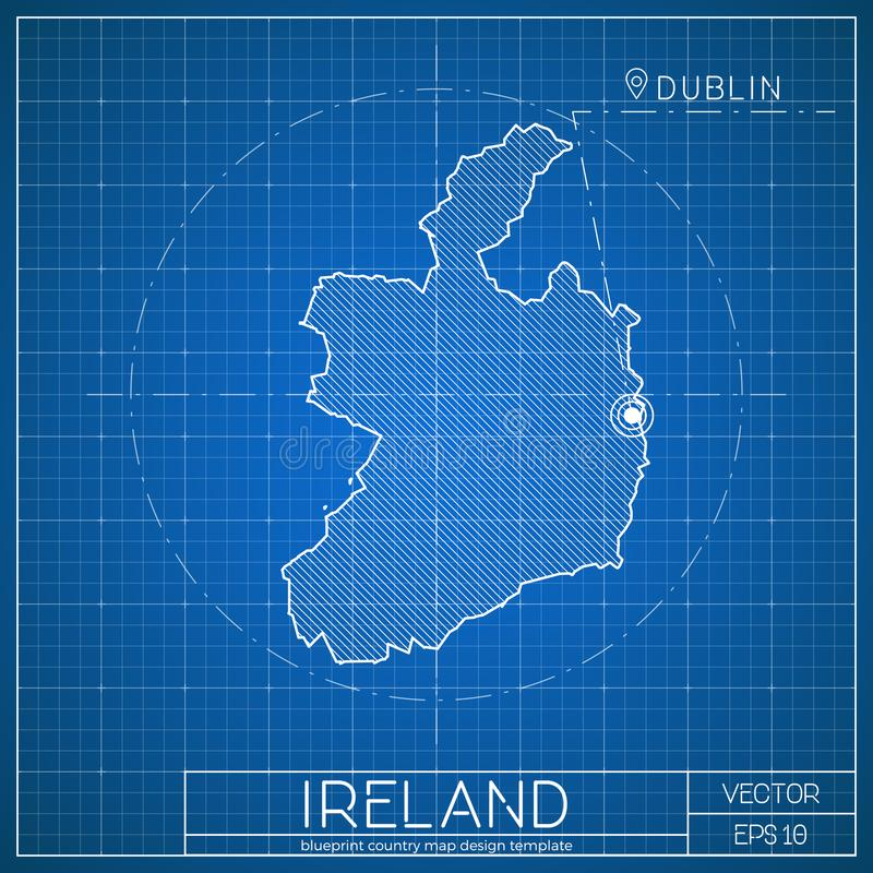 Ireland blueprint map template with capital city stock vector download ireland blueprint map template with capital city stock vector illustration of capital malvernweather Images