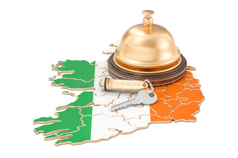 Ireland booking concept. Irish flag with hotel key and reception. Bell vector illustration