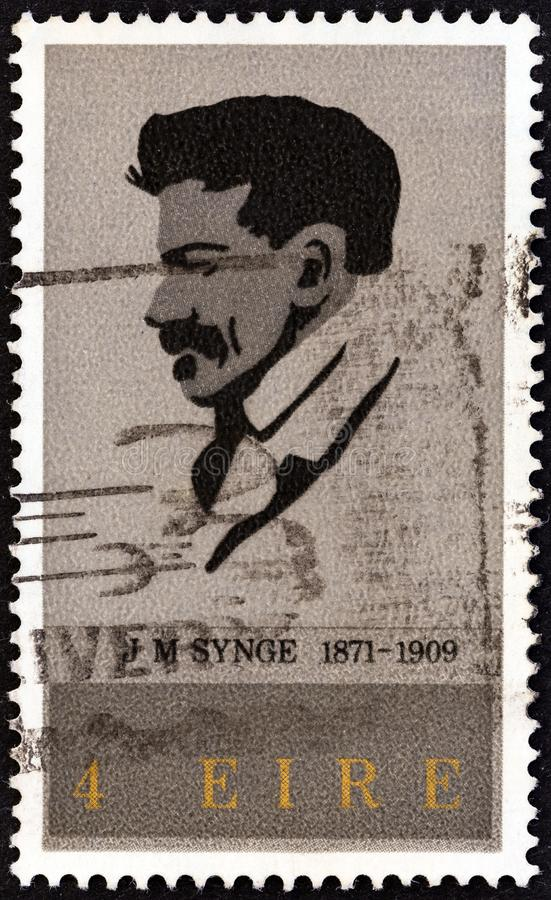 IRELAND - CIRCA 1971: A stamp printed in Ireland shows playwright John Millington Synge, circa 1971. IRELAND - CIRCA 1971: A stamp printed in Ireland issued for stock image