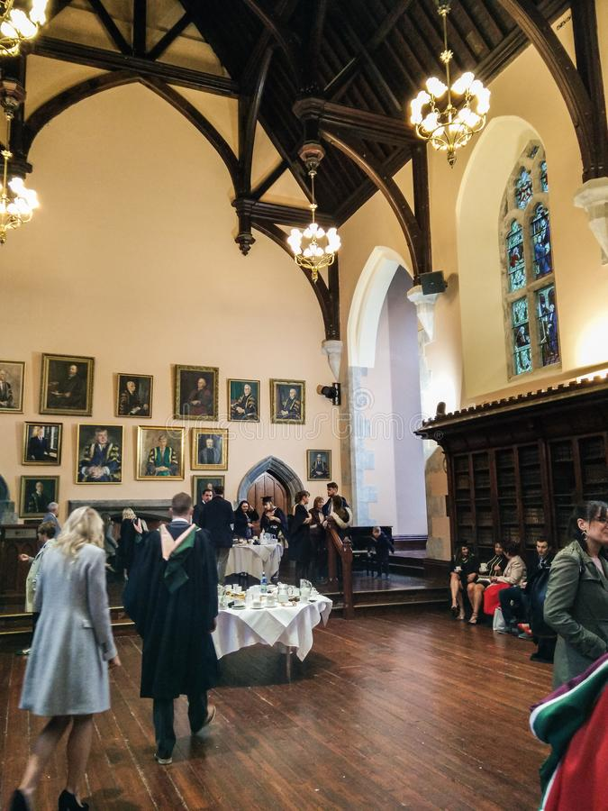 Ireland. Cork. University College of Cork. The UCC. The historical and prestigious Aula Maxima of the UCC during a buffet offered in honor of new graduates stock image