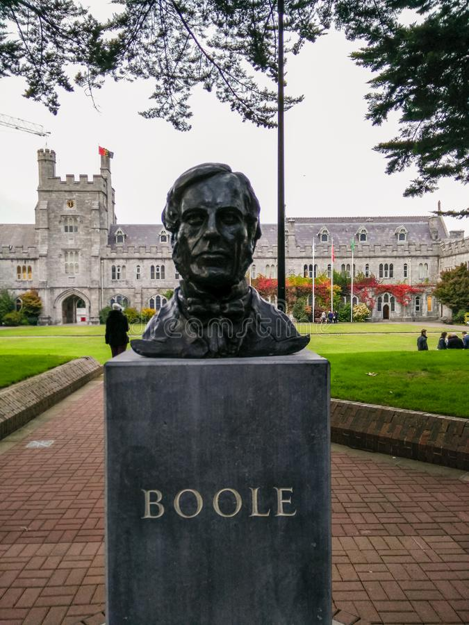 Ireland. Cork. University College of Cork, the UCC. Memorial marble with the bronze portrait of the famous mathematician George Boole, first mathematics stock photos