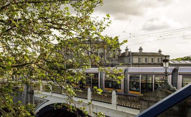 Ireland. Dublin. The train of Luas on Heuston Bridge, near Heuston Station royalty free stock images