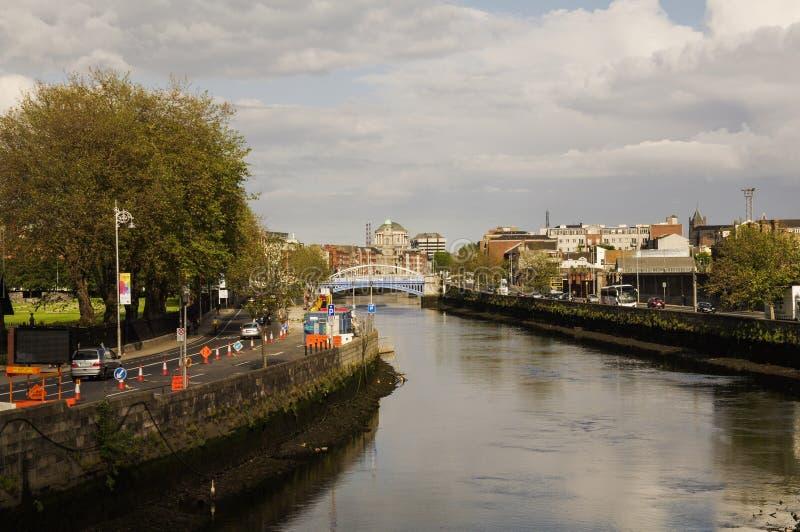 Ireland. Dublin. River Liffey. View with the Sean Heuston Bridge, near Heuston Station royalty free stock photography