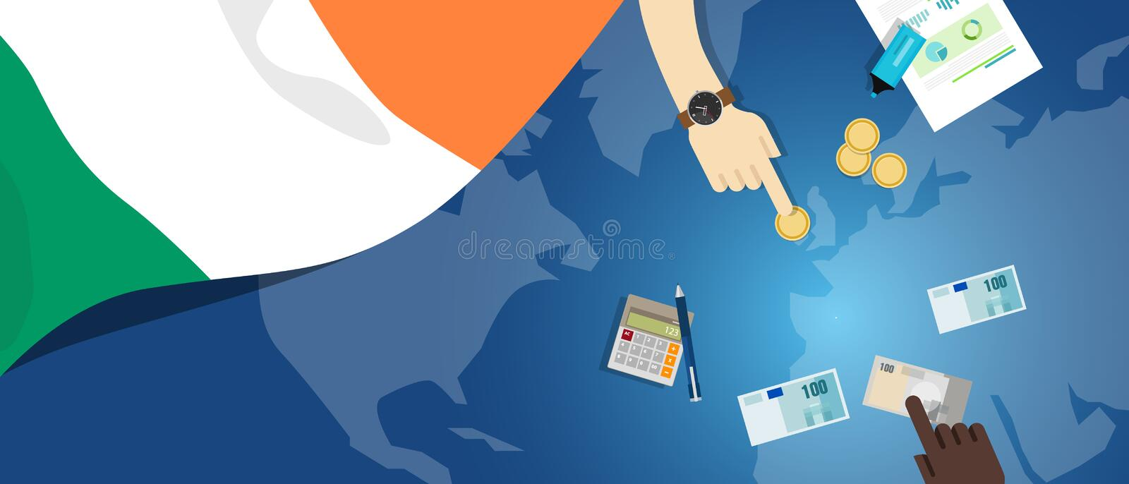 Ireland economy fiscal money trade concept illustration of financial banking budget with flag map and currency. Vector stock illustration