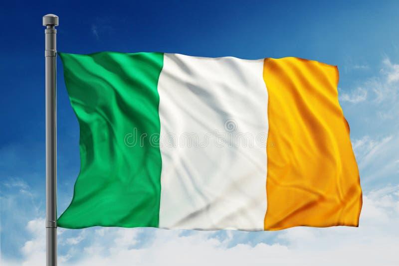 Ireland flag. Isolated on blue sky background stock photo