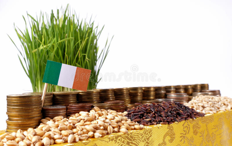 Ireland flag waving with stack of money coins and piles of wheat royalty free stock images