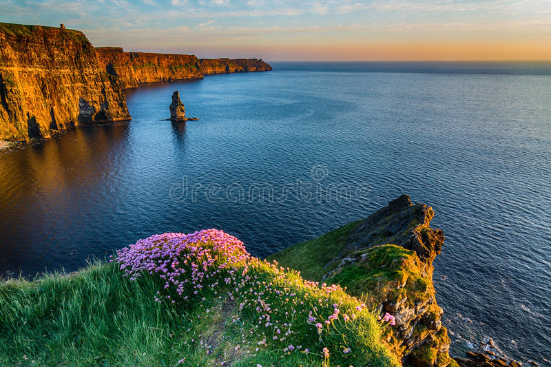 Ireland Irish world famous tourist attraction in County Clare. The Cliffs of Moher West coast of Ireland. Epic Irish Landscape stock image
