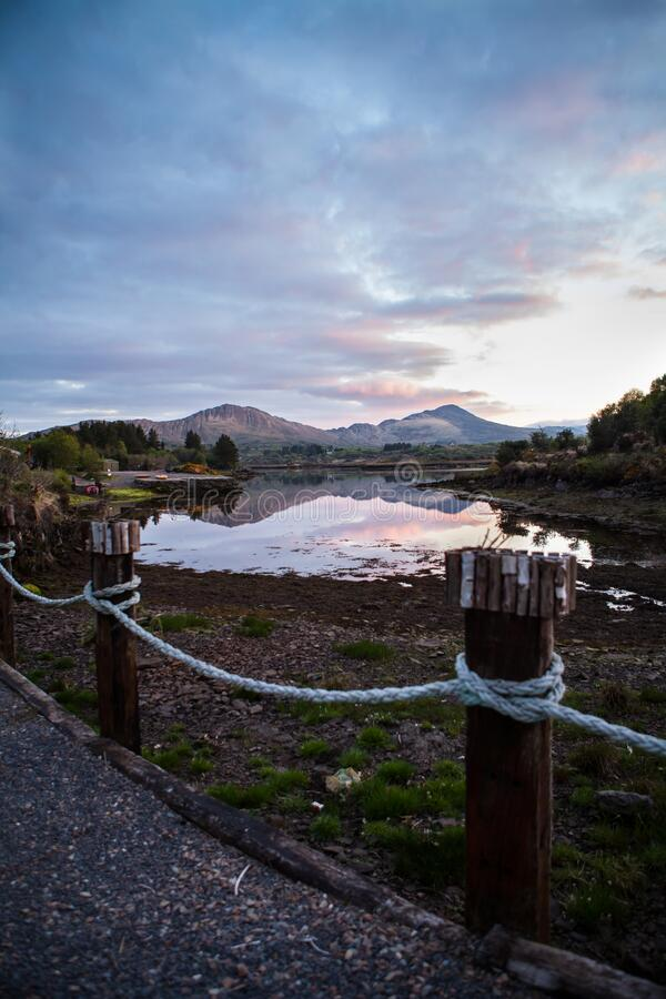 Ireland Landscape with Mountains and Lake Shot at Sunset, Sneem. Ireland Landscape Shot at Sunset in the small town of Sneem, Ireland stock photo