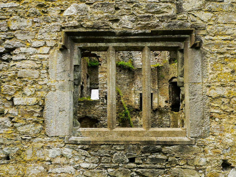 Ireland. Mallow - Mala. Ruins of the Old Mallow Castle. Detail with a window royalty free stock photos