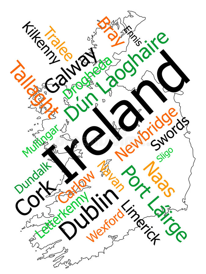 Ireland map and cities. Ireland map and words cloud with larger cities royalty free illustration
