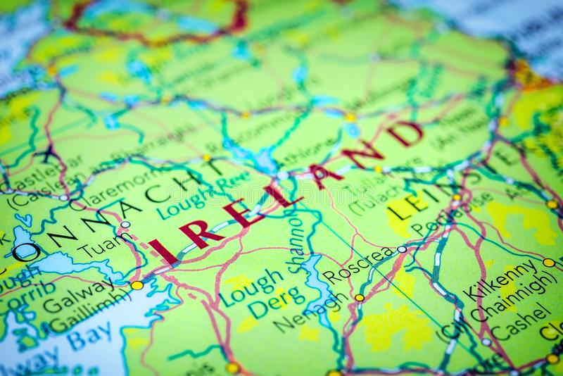 Ireland on a map. Of Europe royalty free stock image