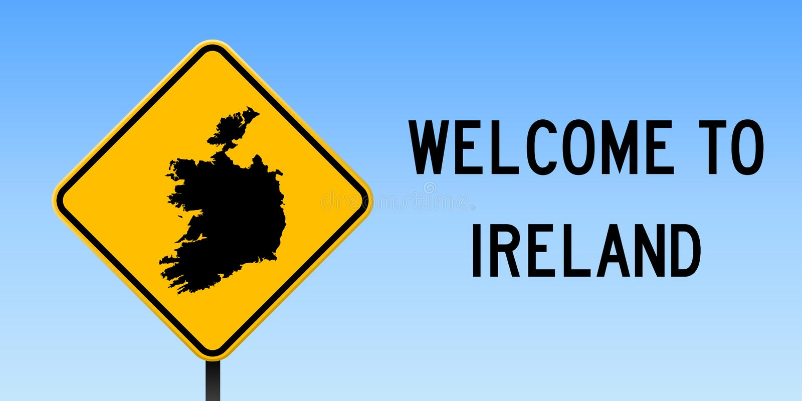 Ireland map on road sign. Wide poster with Ireland country map on yellow rhomb road sign. Vector illustration vector illustration