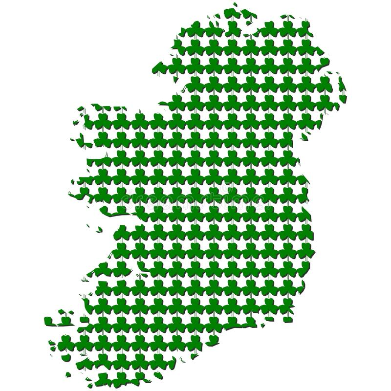 Download Ireland Map With Shamrock Illustration Stock Illustration - Illustration of march, pattern: 23638094