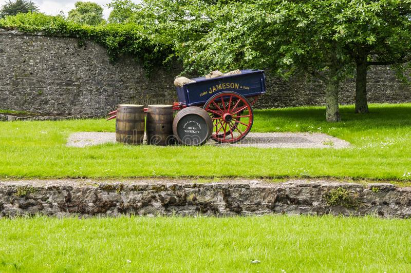 Ireland. Midleton. The Jameson Experience. Old precious objects in the garden at the entrance of the old Irish whiskey distillery in Midleton, near Cork city stock images