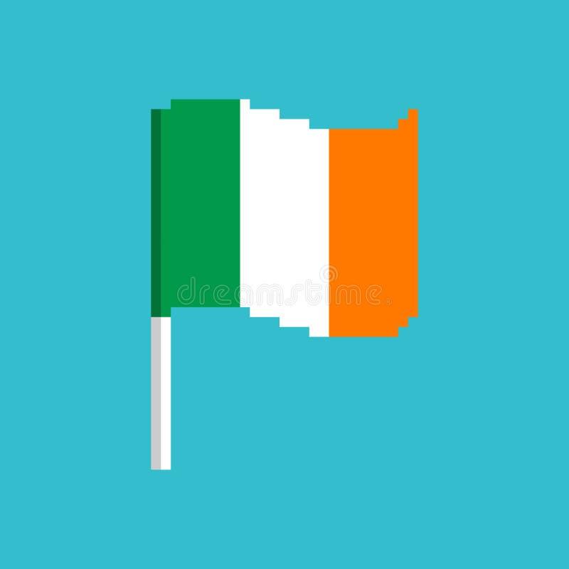 Ireland Pixel flag. Pixelated banner Irish. political bit icon. vector illustration
