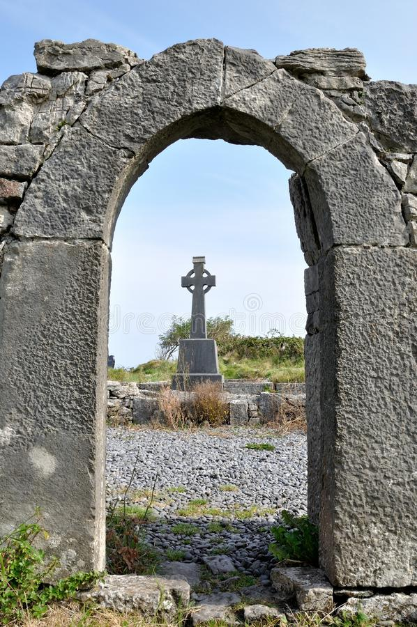 Ireland ruins and cross stock images