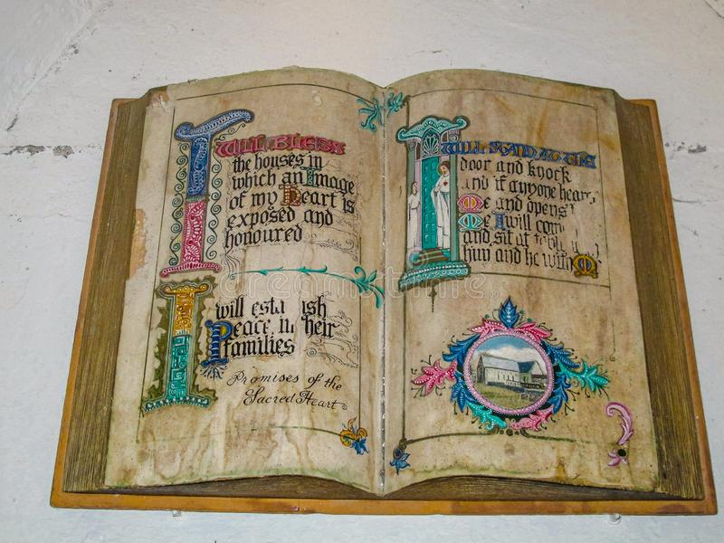 Ancient Irish monks bible stock photo