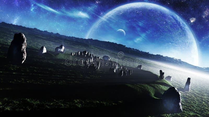 Ireland`s Stonehenge Celestial Fantasy. Stylized representation of Ballynahattin Carnbeg stone circle in Ireland as known as the Ireland`s Stonehenge in a misty vector illustration