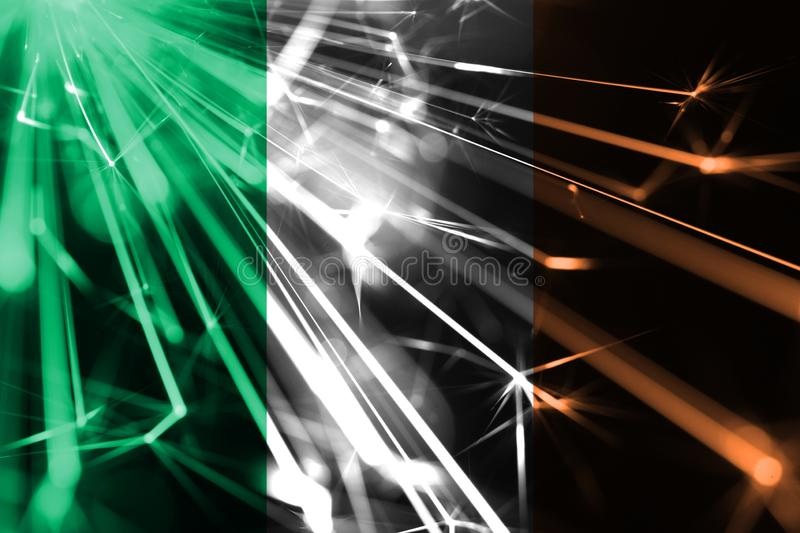 Ireland shining fireworks sparkling flag. New Year 2019 and Christmas futuristic shiny party concept flag. Ireland shining fireworks sparkling flag. New Year royalty free illustration