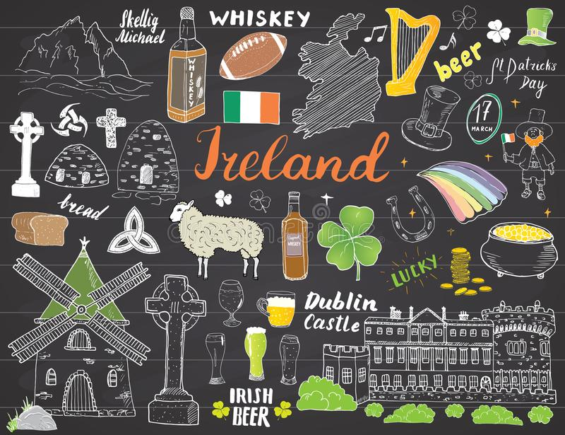 Ireland Sketch Doodles. Hand Drawn Irish Elements Set with flag and map of Ireland, Celtic Cross, Castle, Shamrock, Celtic Harp, M royalty free illustration