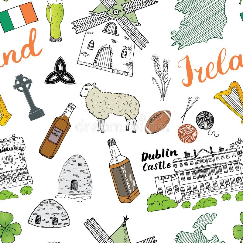 Ireland Sketch Doodles Seamless Pattern. Irish Elements with flag and map of Ireland, Celtic Cross, Castle, Shamrock, Celtic Harp, stock illustration