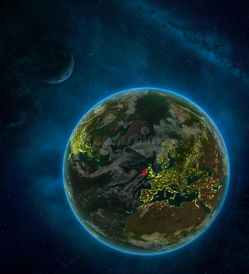 Ireland from space on Earth at night surrounded by space with Moon and Milky Way. Detailed planet with city lights and clouds. 3D. Illustration. Elements of vector illustration