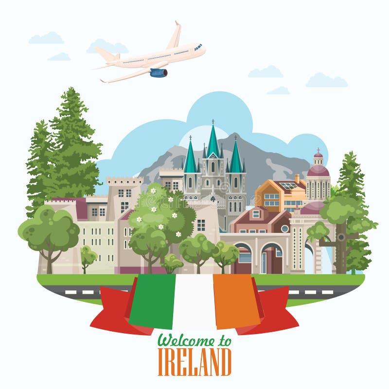 download ireland vector flat design postcard with landmarks irish castle green fields stock