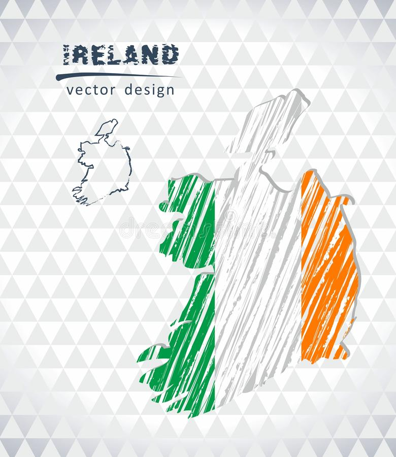 Ireland vector map with flag inside isolated on a white background. Sketch chalk hand drawn illustration royalty free illustration