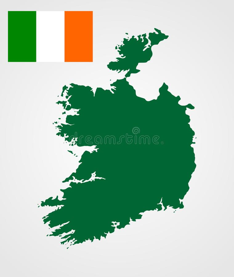 Ireland vector map silhouette and vector flag of Ireland. Ireland vector map silhouette and vector flag of Ireland isolated on white background. High detailed stock illustration