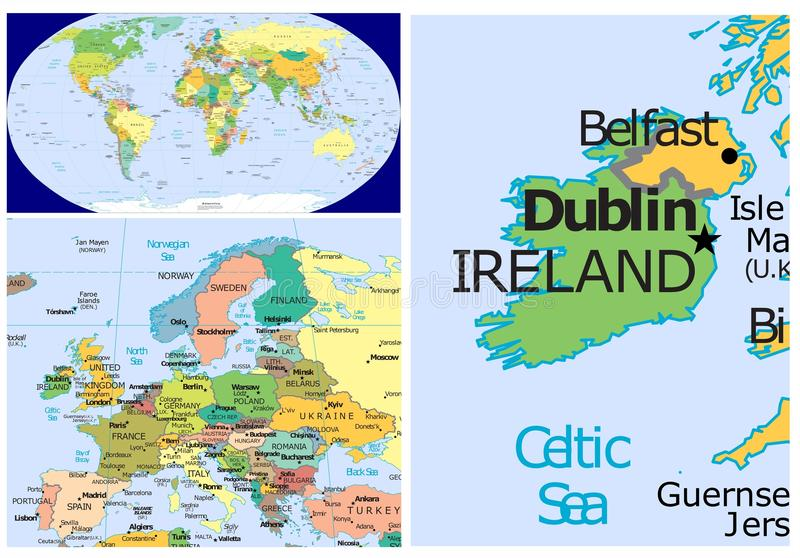 Ireland world stock illustration illustration of division 83437801 world map and close up of ireland gumiabroncs Image collections