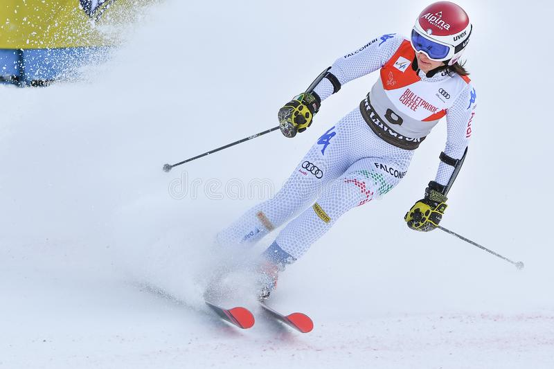 Irene Cutrone of Italy in the finish area after the first run of the giant slalom. KILLINGTON, VT - NOVEMBER 24: Irene Cutrone of Italy in the finish area after royalty free stock image