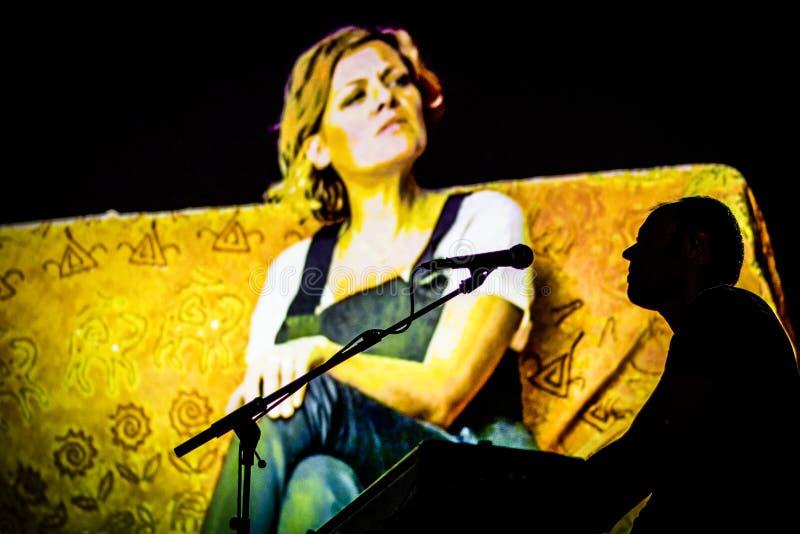 Irene Grandi and Pastis live at Rock sul Serio BG 23-07-2017. Bergamo, Italy. 23st July 2017. Italian singer Irene Grandi performs at the Rock sul Serio festival stock images