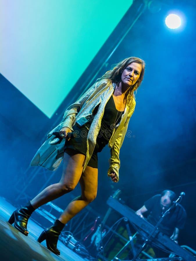 Irene Grandi and Pastis live at Rock sul Serio BG 23-07-2017. Bergamo, Italy. 23st July 2017. Italian singer Irene Grandi performs at the Rock sul Serio festival royalty free stock photo