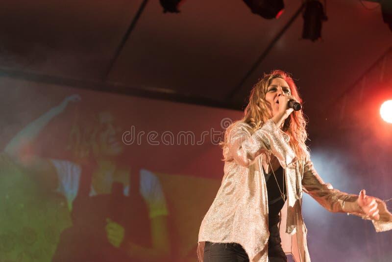 Irene Grandi and Pastis live at Rock sul Serio (BG) 23-07-2017. Bergamo, Italy. 23st July 2017. Italian singer Irene Grandi performs at the Rock sul royalty free stock photo